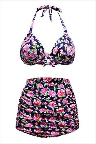 meinice Stampa Navy Retro vita alta 2pezzi Swimsuit Pink X-Large
