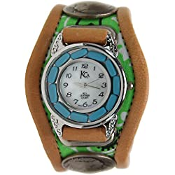 Kc,s Leather Craft Watch Bracelet Three Concho Turquoise Movement Inlay Color Green