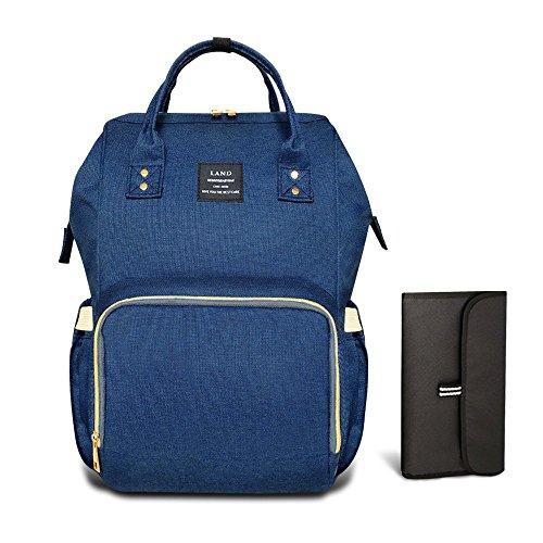 HEYI Baby Wickeltasche Reise Rucksack,Isolierte Tasche, Wasserdicht Stoffe, Multifunktional, Passform für Kinderwage, Große Kapazität Modern Einzigartig Tragbar Handtasche Organizer (Navy-blau)