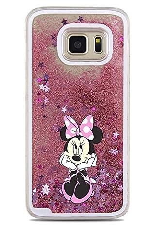 Phone Kandy® Hart Transparent Shell Glitter Stars Sparkle Telefon-Kasten mit Karikatur Hülle Abdeckung Haut tascen (Samsung Galaxy S7 Edge, Minnie)