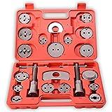 TRESKO® Coffret repousse piston d\étriers de freins pour remplacement de disque Outil et adaptateurs, de mâchoire ou de plaquettes de frein, Set de 22 pièces, Kit universel