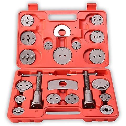 TRESKO® Coffret repousse piston d'étriers de freins pour remplacement de disque Outil et adaptateurs , de mâchoire ou de plaquettes de frein, Set de 22 pièces, Kit universel pour beaucoup de marque de
