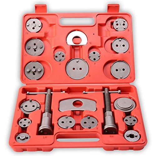 TRESKO® Reposicionador de pistones de freno para reposicionar el pistón de freno al cambiar los discos, las zapatas o las pastillas de freno, set de herramientas para vehículos, 21 piezas, para diferentes marcas