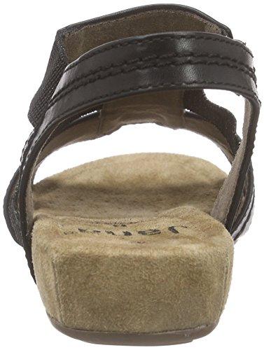 Jana 28611, Sandales ouvertes à talon compensé femme Noir - Noir