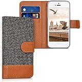 kwmobile Étui portefeuille en cuir synthétique pour Apple iPhone SE / 5 / 5S - étui avec compartiment pour carte de visite et carte de crédit avec fonction support pratique en anthracite marron