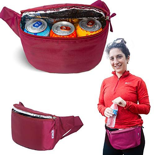 Gopacka Isolierte Fanny Pack Kühltasche für Outdoor, Reisen, Camping, Wandern, Sport Taillentasche mit verstellbarem Riemen Unisex, kastanienbraun