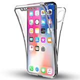 GrandEver Full Body Case for iPhone X Transparent Clear 360 Degrees Protective Cover Ultra Slim Silicone TPU Bumper Rubber Gel Skin Front and Back Soft Flexible Shell - White