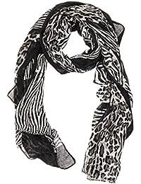 Kandharis leichter Damenschal Halstuch mit Animal Zebra Leo Print WS-4