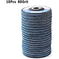 Disco de lija con solapa, 10 discos de lija de óxido de circonio 115 mm 40/60/80/120 Grit Ruedas de molienda de 4.5 pulgadas para amoladoras angulares, /, 80Grit