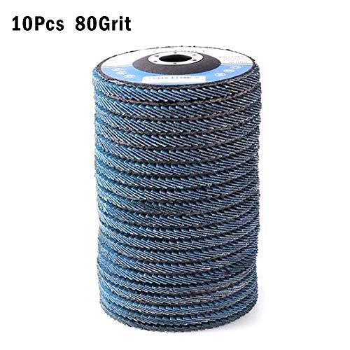 Augneveres Disco de Lija con Solapa, 10 Discos de Lija de óxido de circonio 115 mm 40/60/80/120 Grit Ruedas de molienda de 4.5 Pulgadas para amoladoras angulares, 80Grit