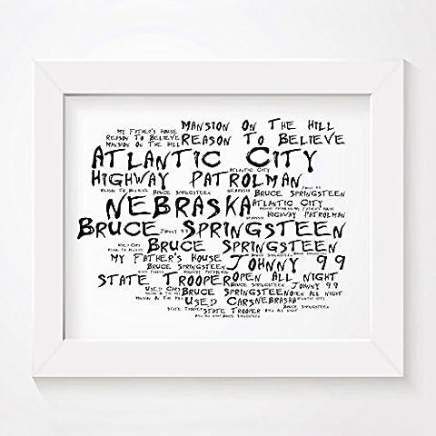 'Noir Paranoiac` Poster Affiche d'art - BRUCE SPRINGSTEEN - Nebraska - Edition signée et numérotée limitée typographie non encadré 20 x 25 cm la musique album mur art haute qualité d'impression - Song lyrics music poster