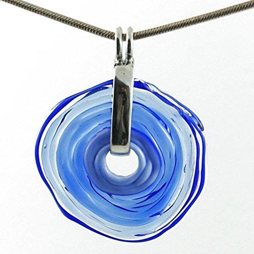Kette mit Anhänger in Blau aus Murano-Glas | Glas-Schmuck Wechsel-Schmuck | Unikat personalisiert handmade handgemacht | Geschenk zu Muttertag Geburtstag | Einzigartiges Geschenk zu Weihnachten | Frau, Oma, Mutter