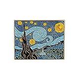 Fengteng Starry Night Bavero Van Gogh Pittura Arte Spilla Decorazione estetica