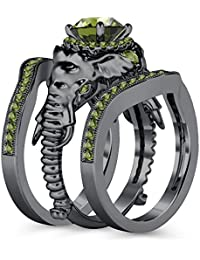 Silvernshine Milgrain Halo 9K Black Gold Plated 1.2Ct Round Green Peridot CZ Diamond Elephant Ring
