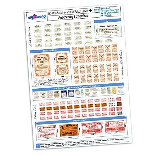MyTinyWorld Puppenhaus Full Set 193 Apotheker/Chemiker Etiketten A4 Wert Blatt -