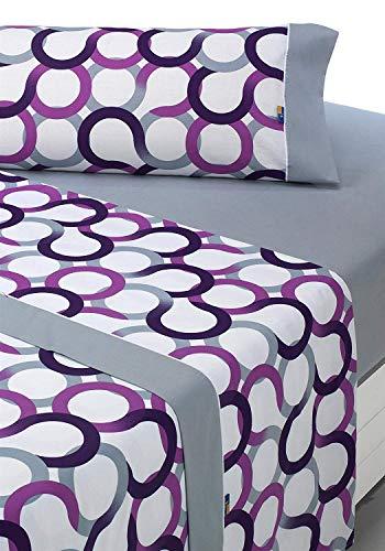 Sabanalia - Juego de sábanas estampadas Aros (disponible en varios tamaños y colores), cama 105, Lila