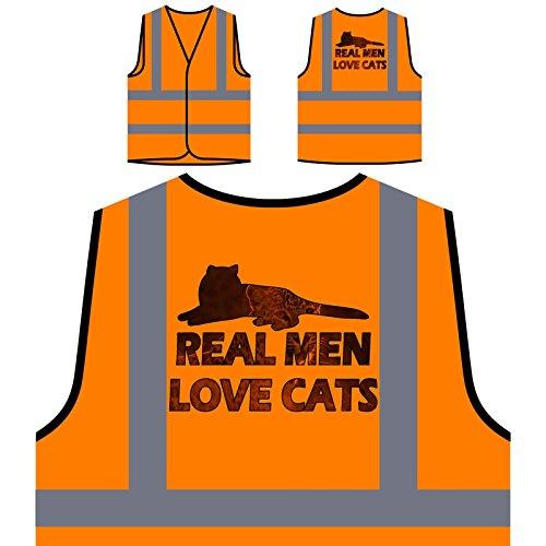 Echte Männer Lieben Katzen Personalisierte High Visibility Orange Sicherheitsjacke Weste r899vo (Echte Katzen Männer Lieben)