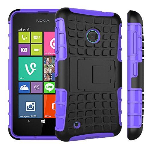 Qiaogle Telefon Case - Shockproof TPU + PC Hybrid Ständer Schutzhülle Case für Nokia Lumia 530 (4.0 Zoll) - HH03 / Lila (Nokia Lumia 530 Case Hybrid)