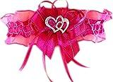 Unbekannt Strumpfband Braut mit Schleife Herzchen Silbernaht Farben viele Farben Hochzeit Strumpfbänder (bis 60 cm, rosa-pink)