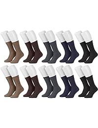 Piarini® - 10 pares de calcetines para hombre - Sin elástico - 100 % algodón - Negro / Blanco / Multicolor