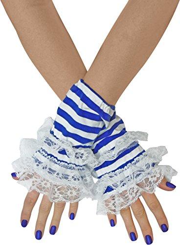 TrendandStylez Handstulpen Ringel mit Spitze Rot Blau Schwarz Handschuhe (Weiße Fingerlose Spitzen Handschuhe Für Erwachsene)