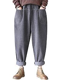 Youlee Donna Vita Elastica Pantaloni Harem Pantaloni di Velluto a Coste 9cb06e464906