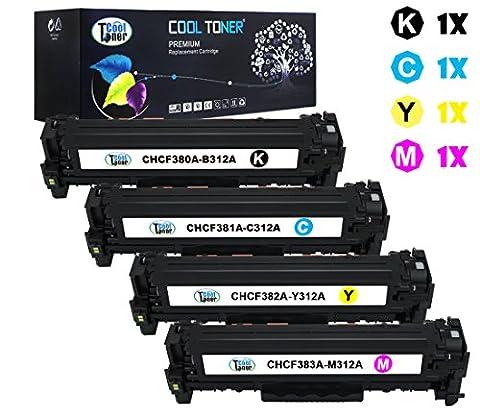 Cool Toner Compatible toner pour CF380XK 312X CF381A CF382A CF383A 312A cartouche de toner compatible pour HP Color LaserJet Pro MFP M476nw M476dn M476dw(Noir, Cyan, Jaune, Magenta, 4-Pack, K-4400 C/M/Y-2700 feuilles)