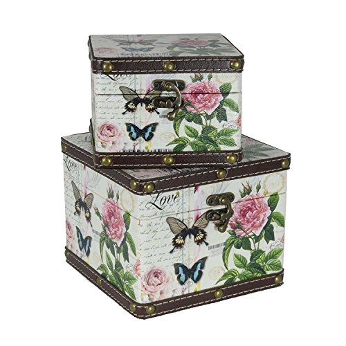 Scrafts Butterfly Pattern Square Royal Wooden, Leather Multipurpose Jewellery/Accessories/Cloths/Cosmetics Organizer/Storage Chest-Set of2
