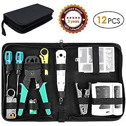 FIXKIT 12 en 1 Professional Testeur de Network Réseau Cable Kits d'outils de Réparation d'Ordinateur,Professionnel de Réseau d'Outils Ensemble d'Outil Approprié au Bricolage,au Ménage, à l'Usine