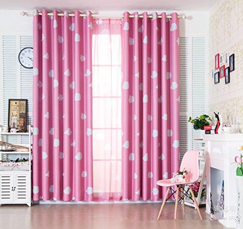 2er-Set Vorhang Blau Pink Cloud Mädchen Vorhang (2 x H245 x B140(CM), Rosa)
