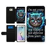 Alice im Wunderland I'm not crazy Cat Cheschire Kunstleder wallet Handy Tasche Schutz Hülle für Samsung Galaxy S6 Edge