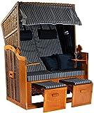 Möbelcreative Strandkorb Ostsee XXL Volllieger 2 Sitzer - 120 cm breit & fertig montiert - blau weiß gestreift inklusive Schutzhülle