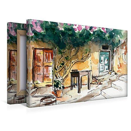 Premium Textil-Leinwand 45 x 30 cm Quer-Format Insel Elba in Skizzen | Wandbild, HD-Bild auf...