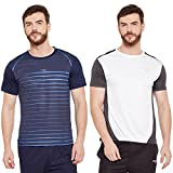 Masch Sports Mens Polyester Printed & Colourblocked T-Shirts -Pack of 2 (Navy Blue,White & Dark Grey)
