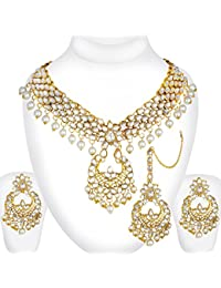 Spargz Gold Plated Traditional Jewellery Kundan Pearl Indian Bollywood Bridal Necklace Set With Maang Tikka For...