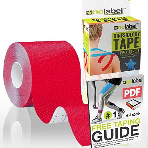 No Label Kinesiologie Tape Rot   Physio Tape   Body Tape   Sportstape   5 cm x 5 m   Schutz + Schnelle Regeneration in Schulter Nacken Rücken Knie Knöchel & Ellenbogen   Latexfrei