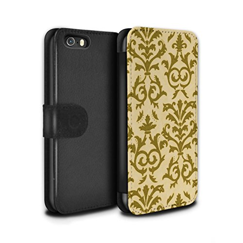 Stuff4 Coque/Etui/Housse Cuir PU Case/Cover pour Apple iPhone SE / Bleu Design / Motif de défilement Collection Jaune