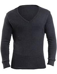 Mens Thermal Underwear V Neck Long Sleeve Vest XL Denim
