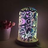 HJJ Luce- Lampada da tavolo a forma di stella a forma di stella decorativa 3D Lampada da tavolo a luce d'atmosfera con cupola in vetro e base in legno Lampada da notte a led ideale per la camera da l