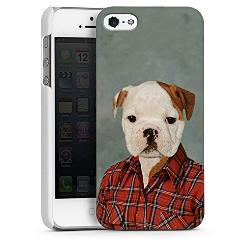 Apple iPhone 5 Housse étui coque protection Chien Chien Bouledogue CasDur blanc
