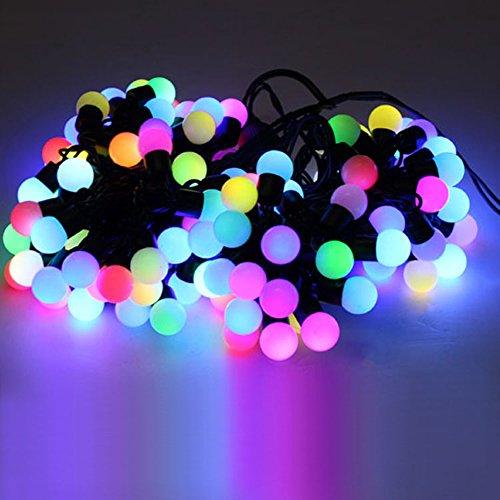 Preisvergleich Produktbild Minger 100er LED Kugel Lichterkette 10M warm 10m 100er 32.8ft 100 LED Globe Lichterketten Wasserdichte RGB Ball Lichterketten für Outdoor & Indoor Dekoration Garten Terrasse Bäume Hochzeit Weihnachten