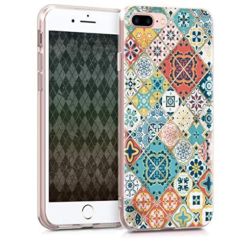 kwmobile Apple iPhone 7 Plus / 8 Plus Hülle - Handyhülle für Apple iPhone 7 Plus / 8 Plus - Handy Case in Marokkanische Fliesen Mehrfarbig Design Blau Rot Hellbraun -