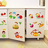 ALLDOLWEGE Einfacher Karikaturfrucht- und Gemüsewandaufkleber-Restaurantküchen-Hintergrundplan netter Kühlschrank geben Aufkleber Obst- und Gemüse Park, Bildfarbe frei