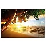 Póster Playa Puesta del Sol Mural Decoración Sol Verano Caribe Paisaje Mar Naturaleza Beach Sunset Vacaciones Ideales | foto póster mural imagen deco pared by GREAT ART (140 x 100 cm)