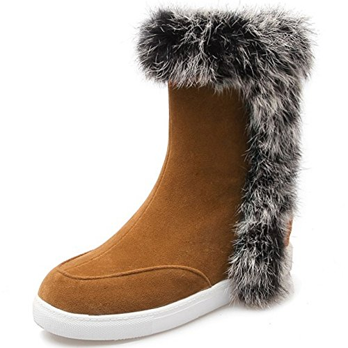 COOLCEPT Damen warme Wildleder flache Schuhe der beiläufigen Höhe Erhöhung Ferse Schneeschuhe mit Kunstfell Datierung Gelb