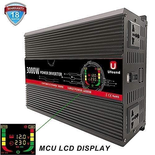 Ufound Convertisseur 12v 220v 3000w transformateur Voiture Car Power Inverter LCD Camping Car onduleur with USB 2.1A convertisseur de Tension 220V 12V 3000W