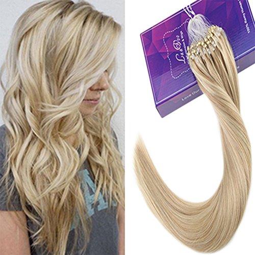 """LaaVoo 14"""" Haar Extensions Microring Bonding Echthaar Highlighs Aschblond und Gebleichtes Blond #613 Micro Ring Extensions Glatt 50Gramm"""