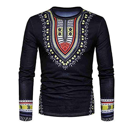 TINGSU 2018?Herren Casual African Print O Neck Pullover Langarm T-Shirt Top Bluse xxl Schwarz