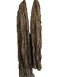 """Celebrity Khaki & Pink Small Animal Leopard Print Crinkle Ladies Fashion Shawl Scarf 70"""" x 40"""" Posted by Fat-Catz"""