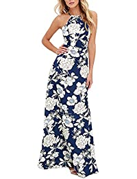 b2e9858b94 Romacci Sexy Women Maxi Dress Halter Neck Floral Print Sleeveless Summer  Beach Long Slip Dress S-5XL